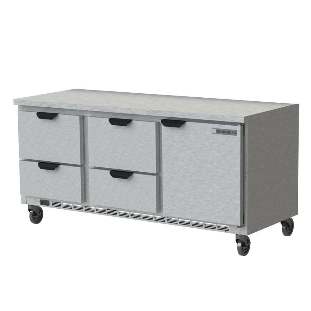 "Beverage Air WTRD72AHC-4-FLT 72"" Worktop Refrigerator w/ (3) Section, 115v"