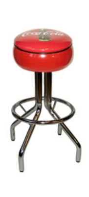 "Vitro 250781CBB Coke Diner Stool, 30""Height, Red Painted Seat Ring, Black Piping"