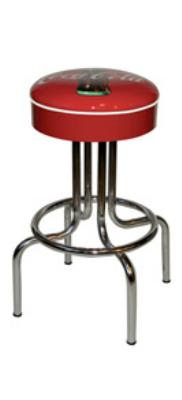 "Vitro 264125CBB30 Coke Bulls'-Eye Stool, 30"" Seat Height, Red Disc Icon, White Piping"
