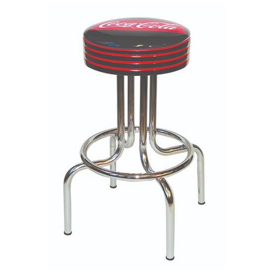 "Vitro 264782FT Fishtail Coke Stool, Grooved Black Seat Ring w/ Red Stripes, Black, 24""H"