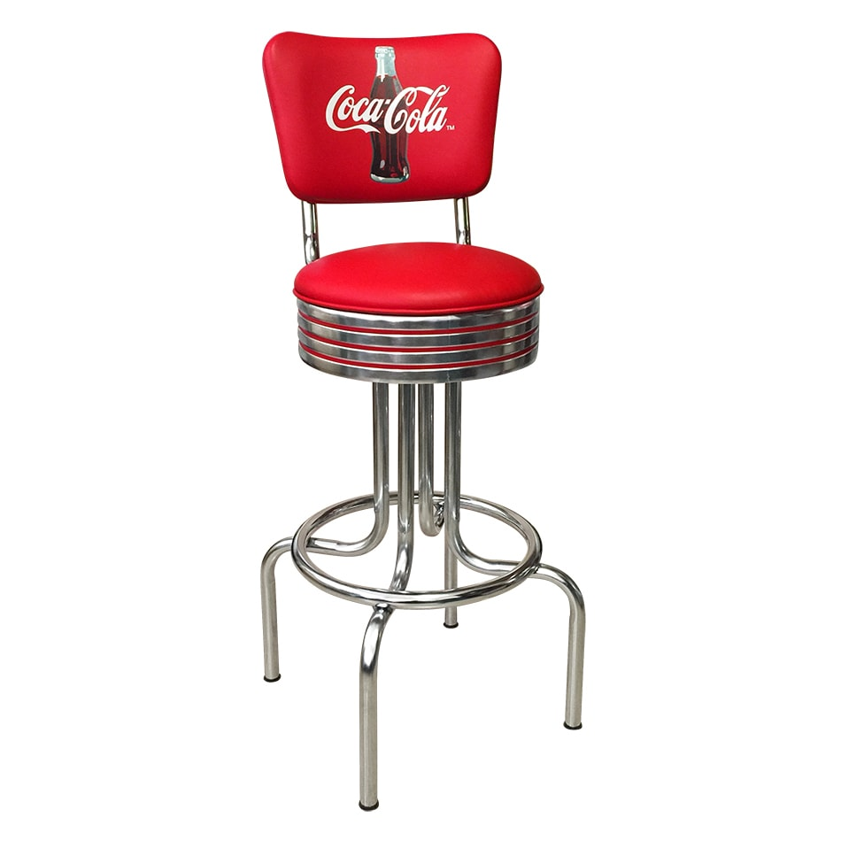 "Vitro 264782RBCBB30 Bar Stool, Coke Red Disc Icon, Chrome Ring w/ Red Striping, 30""H"
