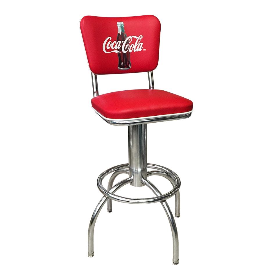 "Vitro 300921CBB30 Coke Diner Stool, 30""Height, Coke Button Logo on Back, White Piping"