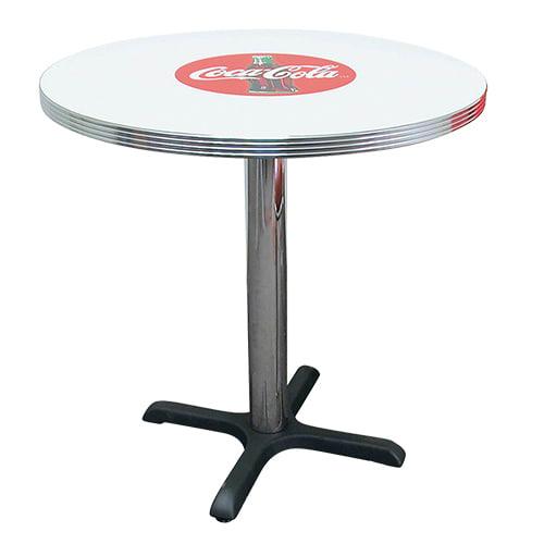 "Vitro BGA1253042CBB Coke Red Disc Icon Table, 30""Diameter, 42"" Bar Height"