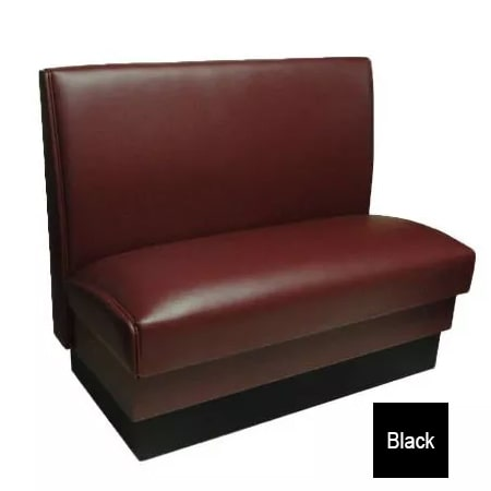 """Vitro MD-1000-DBL BLK Double Restaurant Booth - Smooth Back, Fully Upholstered, 36"""" x 44"""", Black"""