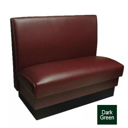 """Vitro MD-1000-SGL DKGR Single Restaurant Booth - Smooth Back, Fully Upholstered, 36"""" x 44"""", Dark Green"""