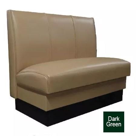 """Vitro MD-3000-SGL DKGR Single Restaurant Booth - (3) Panels, Fully Upholstered, 36"""" x 44"""", Dark Green"""