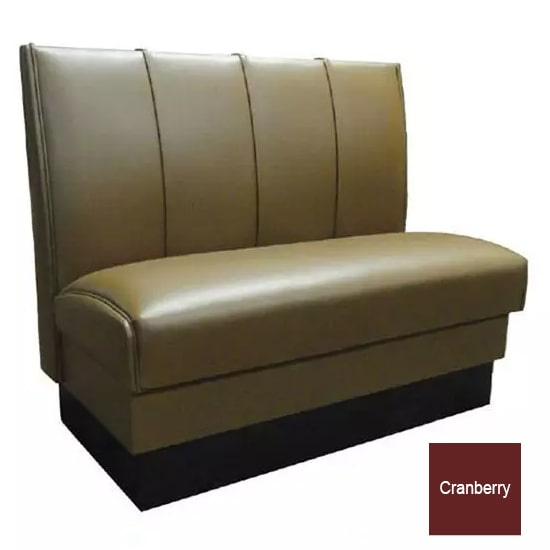 """Vitro MD-4000-DBL CBRY Double Restaurant Booth - (4) Panels, Fully Upholstered, 36"""" x 44"""", Cranberry"""