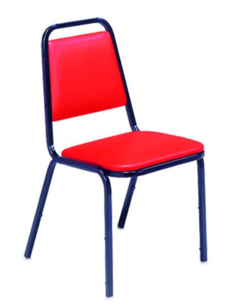 Vitro X24-CHAIR Stacker Series Chair, Straight Back, 1 in Pulled Seat, #2 Glide, Metal Frame