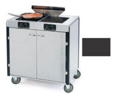 "Lakeside 2075 BLK 40.5"" High Mobile Cooking Cart w/ 2 Induction Stove, Black"