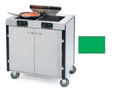 "Lakeside 2075 GRN 40.5"" High Mobile Cooking Cart w/ 2 Induction Stove, Green"