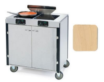 "Lakeside 2075 HRMAP 40.5"" High Mobile Cooking Cart w/ 2 Induction Stove, Hard Rock Maple"