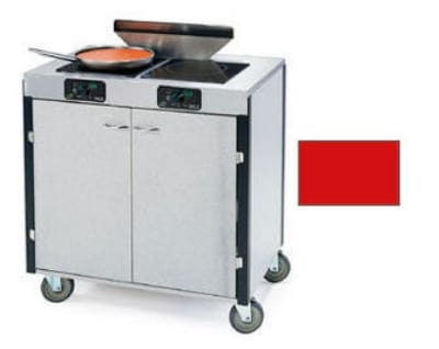 "Lakeside 2075 RED 40.5"" High Mobile Cooking Cart w/ 2 Induction Stove, Red"