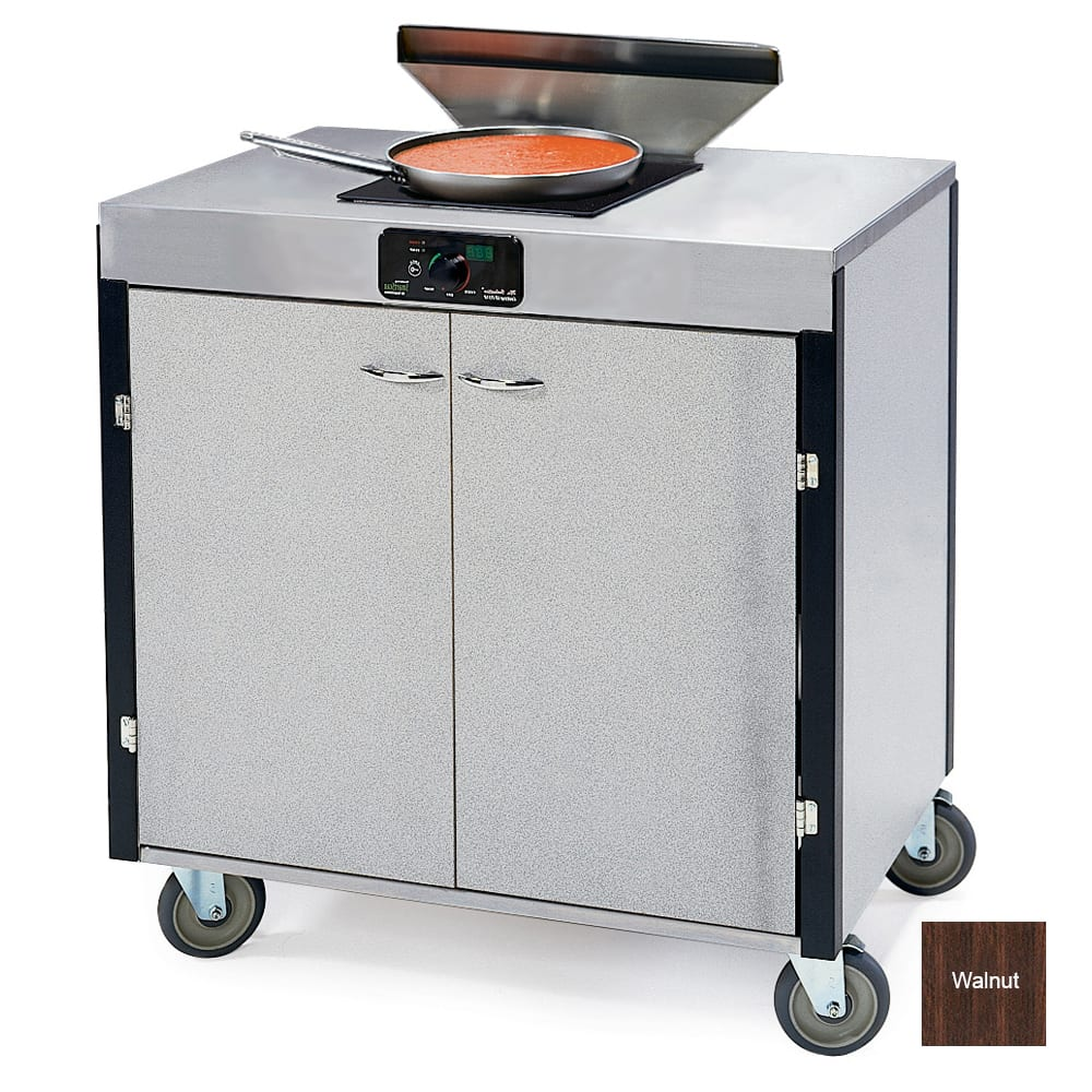 """Lakeside 2075 WAL 40.5"""" High Mobile Cooking Cart w/ 2 Induction Stove, Walnut"""