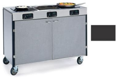 "Lakeside 2080 BLK 35.5"" High Mobile Cooking Cart w/ 3 Induction Stove, Black"