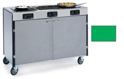 "Lakeside 2080 GRN 35.5"" High Mobile Cooking Cart w/ 3 Induction Stove, Green"