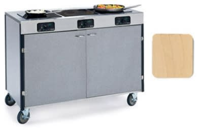 "Lakeside 2080 HRMAP 35.5"" High Mobile Cooking Cart w/ 3 Induction Stove, Hard Rock Maple"