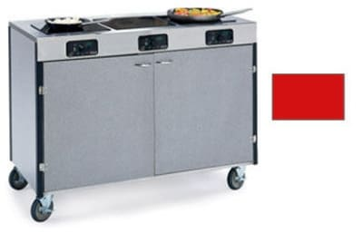 """Lakeside 2080 RED 35.5"""" High Mobile Cooking Cart w/ 3 Induction Stove, Red"""