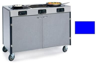 "Lakeside 2080 ROYBL 35.5"" High Mobile Cooking Cart w/ 3 Induction Stove, Royal Blue"