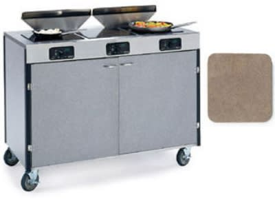 "Lakeside 2085 BGESUE 40.5"" High Mobile Cooking Cart w/ 3 Induction Stove, Beige Suede"