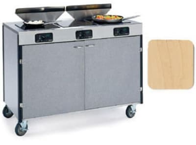 """Lakeside 2085 HRMAP 40.5"""" High Mobile Cooking Cart w/ 3 Induction Stove, Hard Rock Maple"""