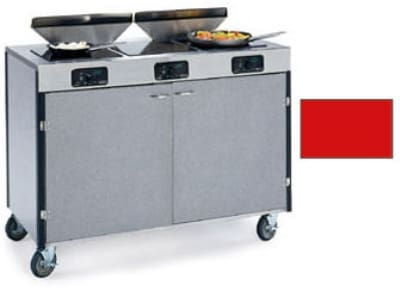 "Lakeside 2085 RED 40.5"" High Mobile Cooking Cart w/ 3 Induction Stove, Red"