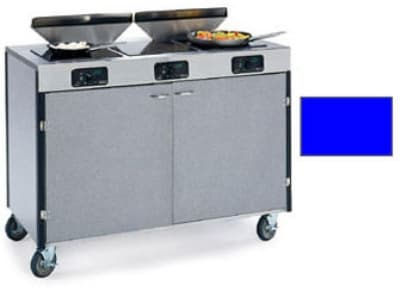 """Lakeside 2085 ROYBL 40.5"""" High Mobile Cooking Cart w/ 3 Induction Stove, Royal Blue"""
