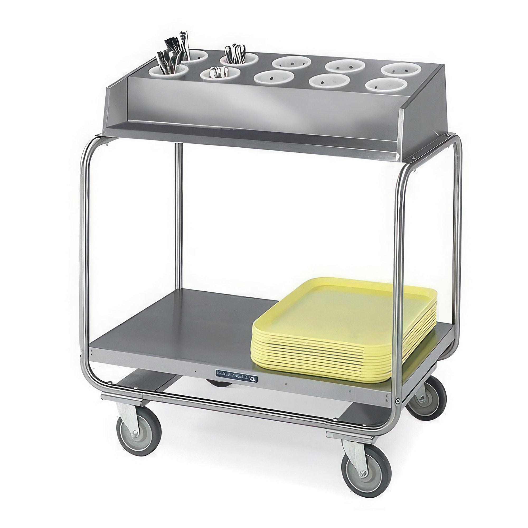 Lakeside 213 Tray Silver Cart w/ (10) Flatware Cylinder Capactiy, 500 lb