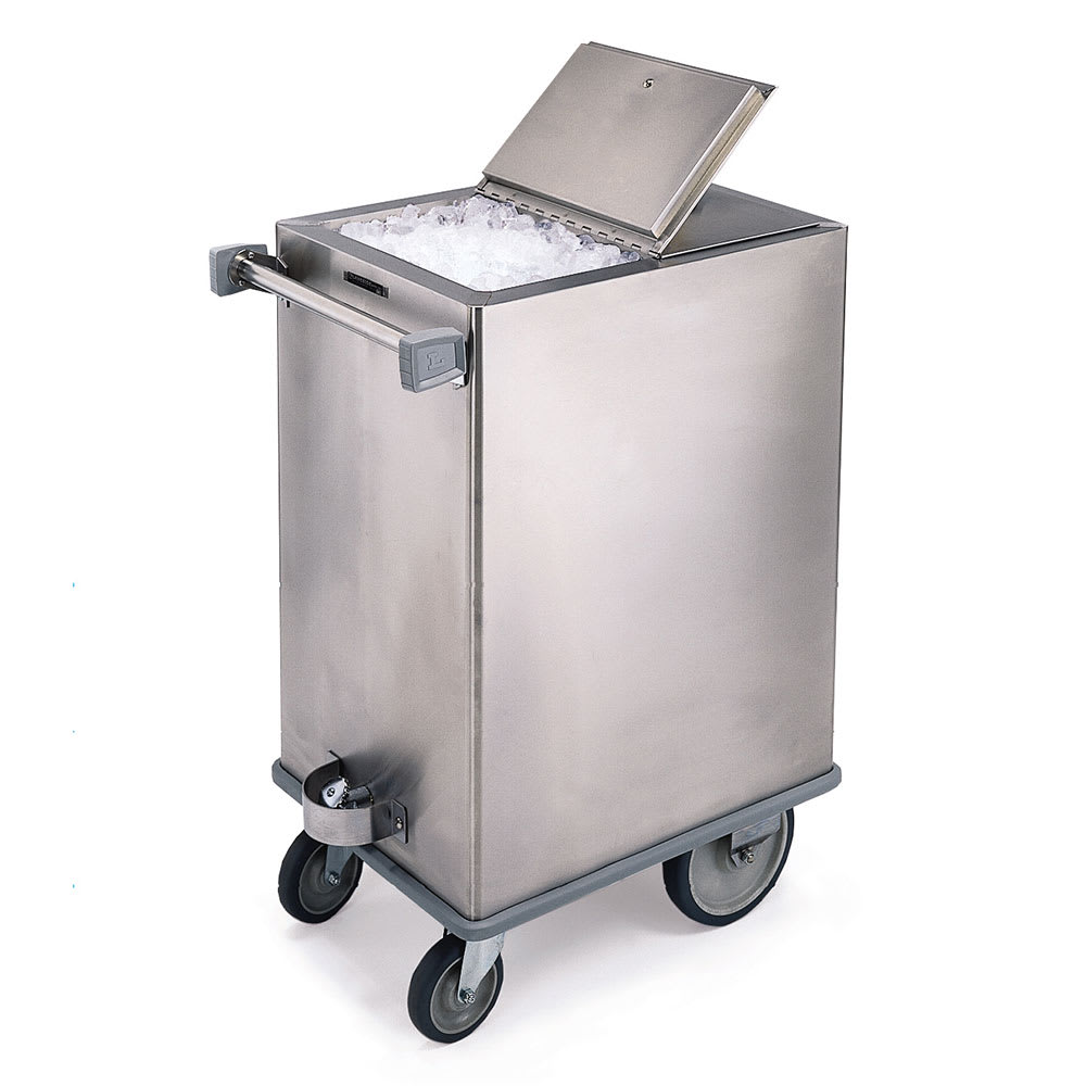 Lakeside 240 Mobile Ice Bin w/ 125 lb Capacity & Hinged Cover, Stainless