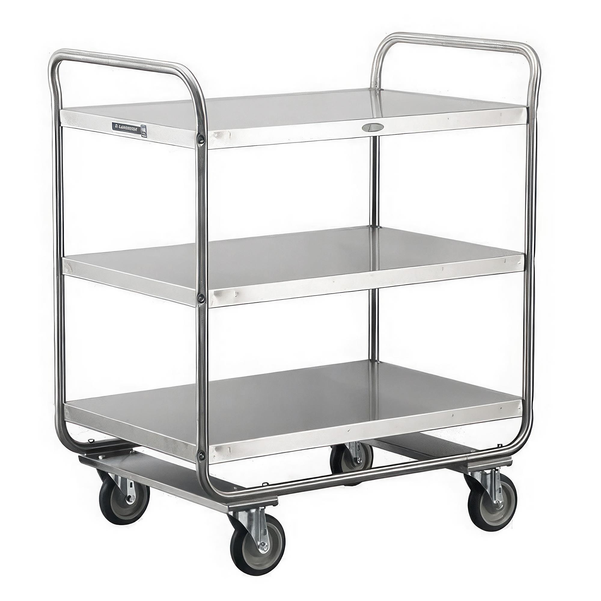 Lakeside 244 3 Level Stainless Utility Cart w/ 500 lb Capacity, Flat Ledges