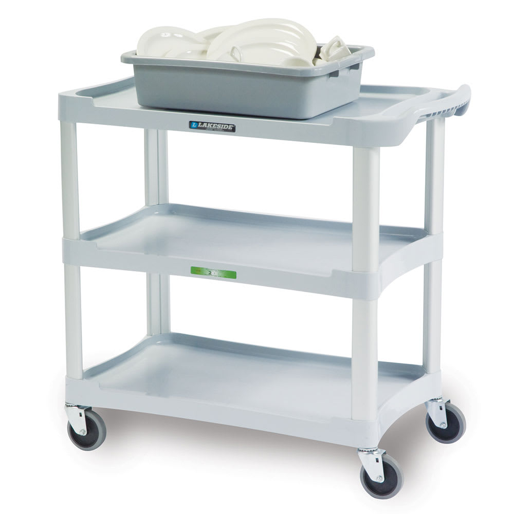 Lakeside 2501 3-Shelf Utility Cart w/ Push Handles, 300-lb Capacity, Grey