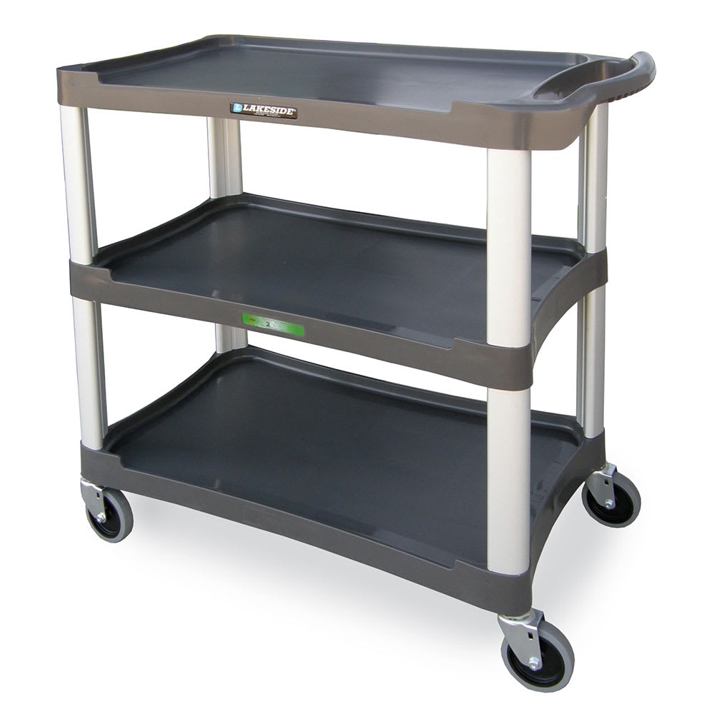 Lakeside 2503 3-Shelf Utility Cart w/ Push Handles, 300-lb Capacity, Charcoal
