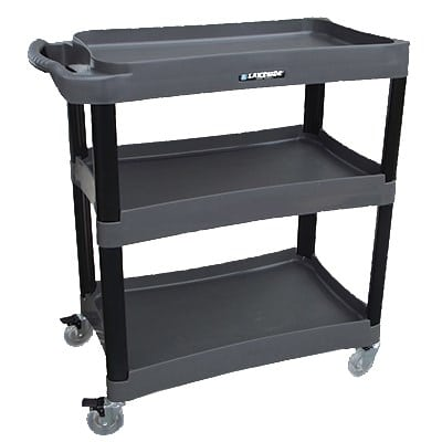 "Lakeside 2507 35.75"" Polymer Bus Cart w/ (3) Levels, Shelves, Black"