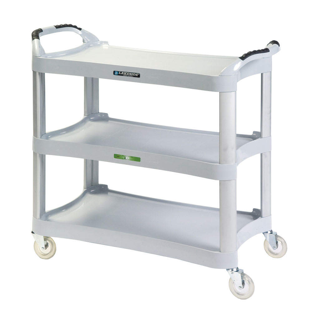 Lakeside 2510 3-Level Polymer Utility Cart w/ 500-lb Capacity, Flat Ledges