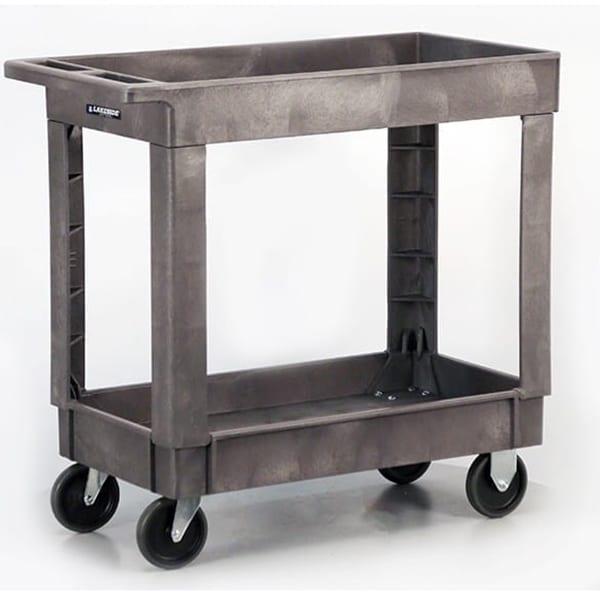 Lakeside 2521 2 Level Plastic Utility Cart w/ 500 lb Capacity - Raised Ledges, Gray