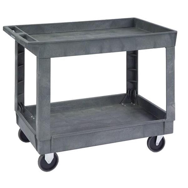Lakeside 2523 2-Level Polymer Utility Cart w/ 500-lb Capacity, Raised Ledges