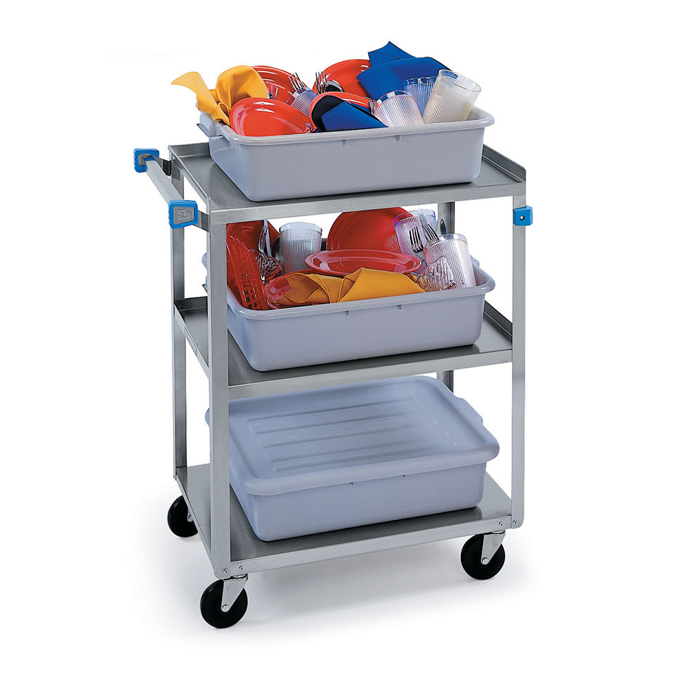 Lakeside 311 3-Level Stainless Utility Cart w/ 300-lb Capacity, Raised Ledges