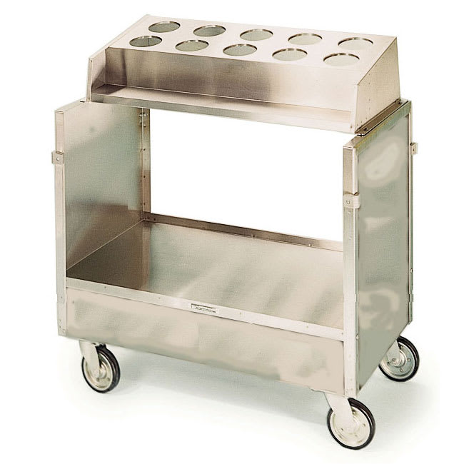 Lakeside 403 Tray & Silver Cart w/ 10-Hole Silverware Bins & 120-Tray Capacity