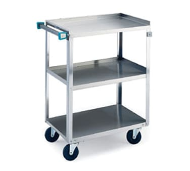 Lakeside 411 3-Level Stainless Utility Cart w/ 500-lb Capacity, Raised Ledges