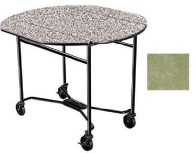 "Lakeside 412 BGSUE 40"" Round Drop-Leaf Room Service Table, Beige Suede"