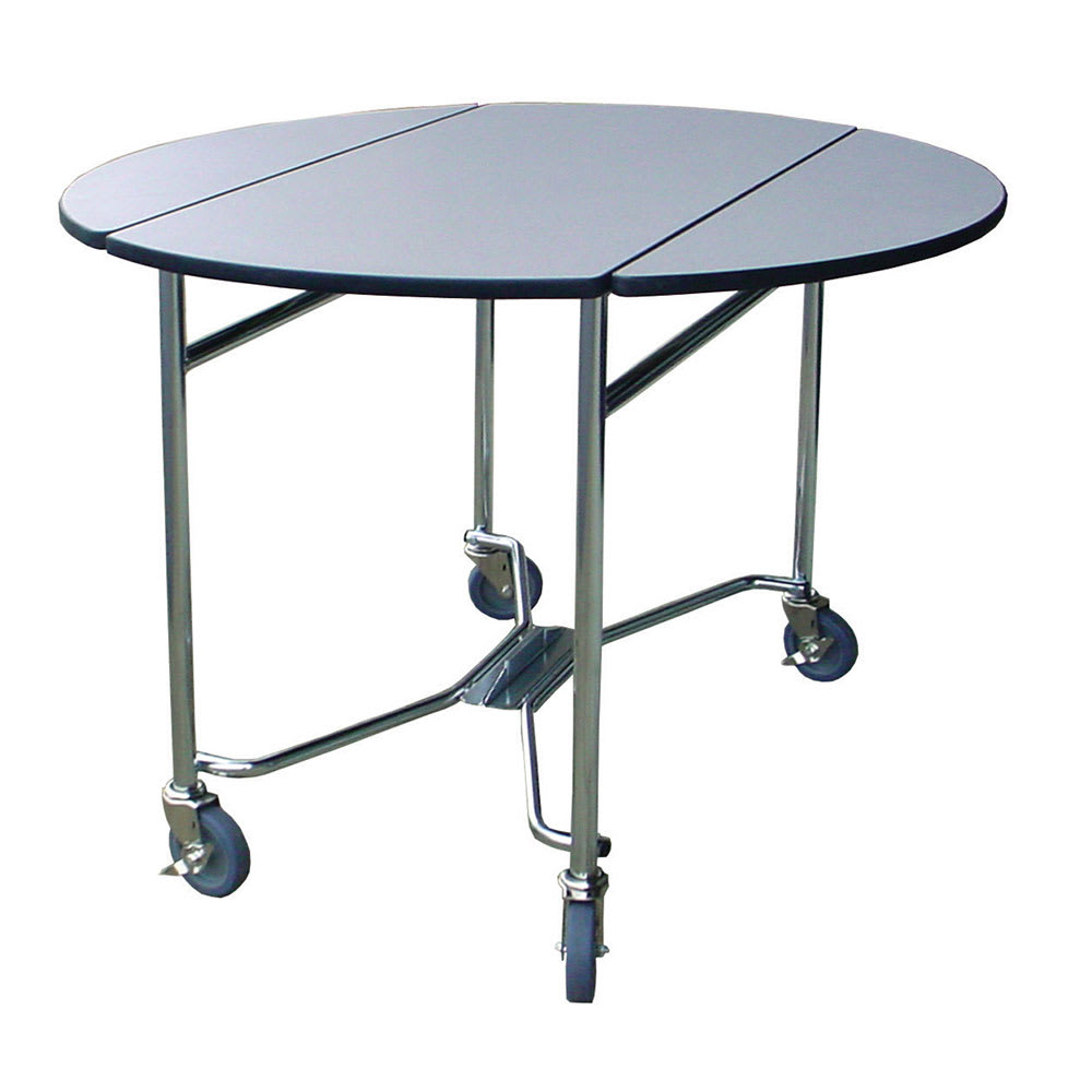 """Lakeside 412 BLK 40"""" Round Drop-Leaf Room Service Table w/ Laminated Top, Black"""