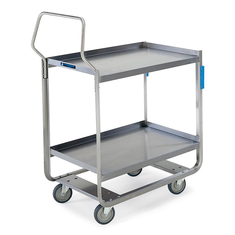 Lakeside 4743 2 Level Stainless Utility Cart w/ 700 lb Capacity, Raised Ledges
