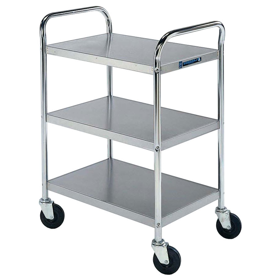 Lakeside 479 3-Level Stainless Utility Cart w/ 500-lb Capacity, Flat Ledges