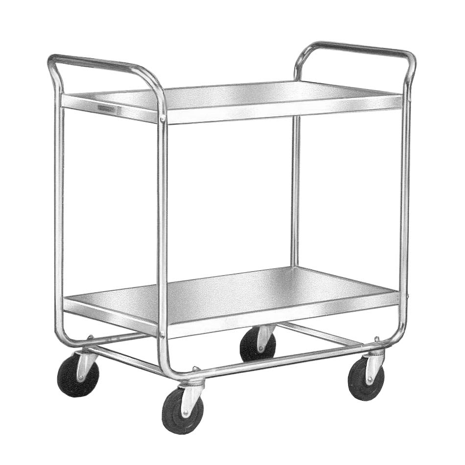 Lakeside 492 2 Level Stainless Utility Cart w/ 500 lb Capacity, Flat Ledges