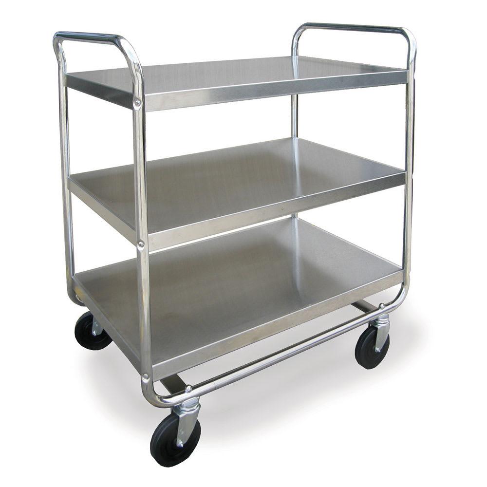 Lakeside 493 3 Level Stainless Utility Cart w/ 500 lb Capacity, Flat Ledges