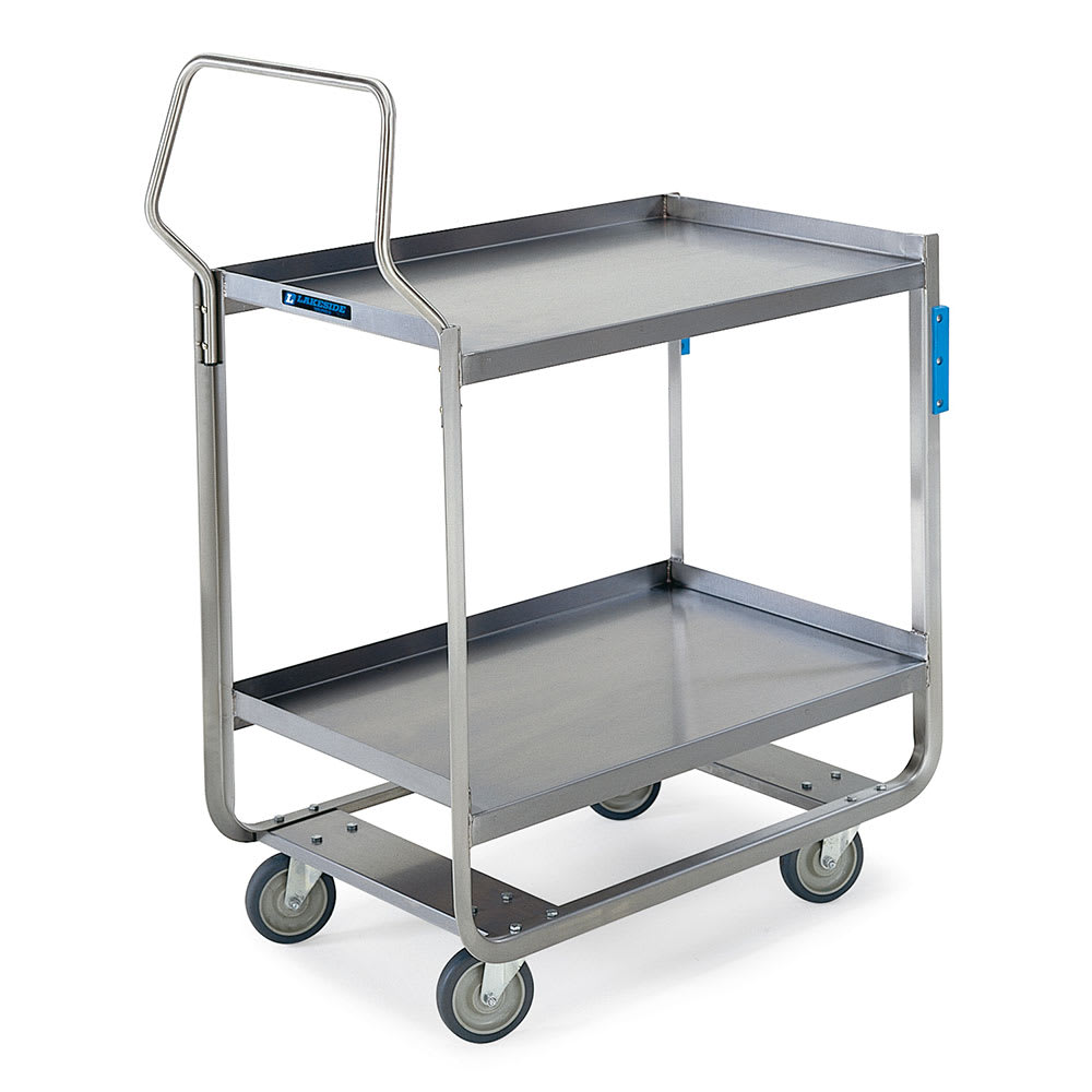 Lakeside 4943 2-Level Stainless Utility Cart w/ 1000-lb Capacity, Raised Ledges