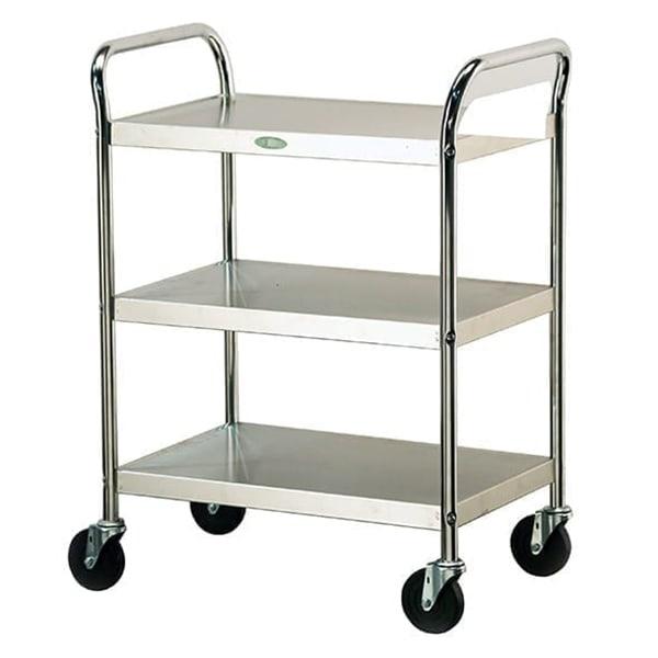 Lakeside 499 3-Level Chrome Plated Utility Cart w/ 500-lb Capacity, Flat Ledges