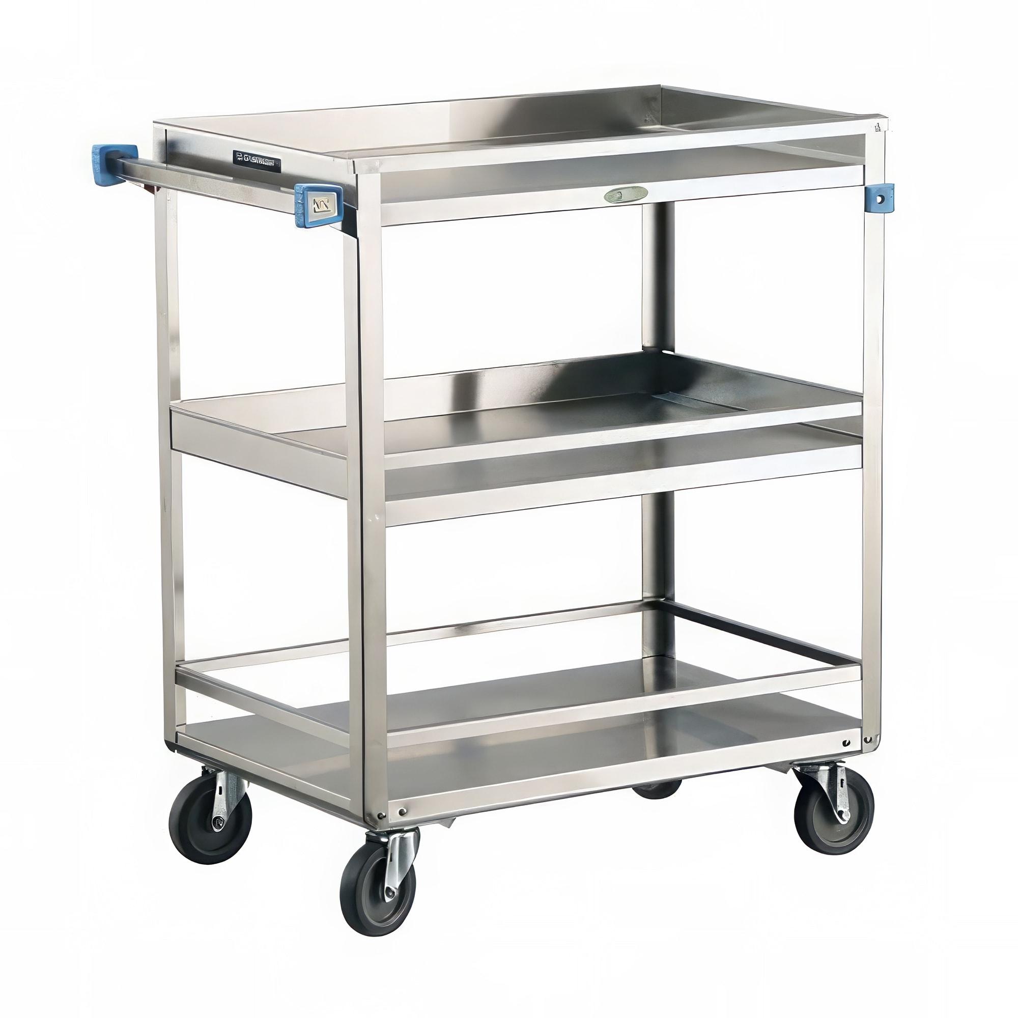 Lakeside 526 3 Level Stainless Utility Cart w/ 500 lb Capacity, Raised Ledges