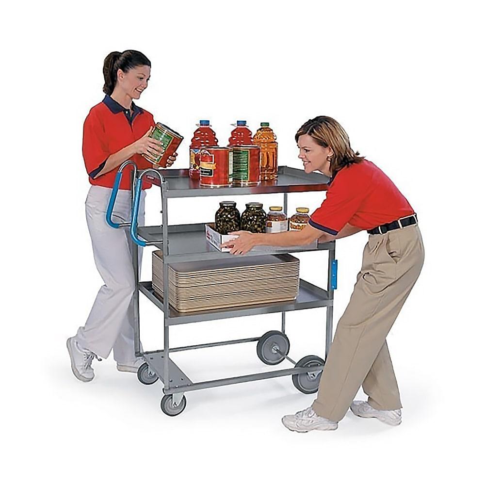 Lakeside 5925 3 Level Stainless Utility Cart w/ 700 lb Capacity, Raised Ledges