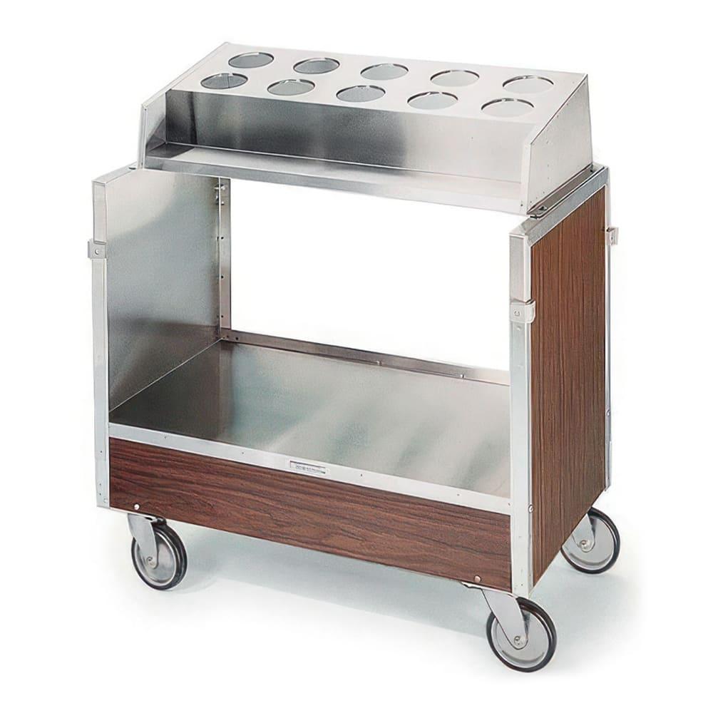 Lakeside 603 WAL Tray & Silver Cart w/ Pan Type Silver Dispenser, Walnut