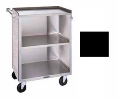 "Lakeside 610 27.75""L Metal Bus Cart w/ (3) Levels, Shelves, Black"